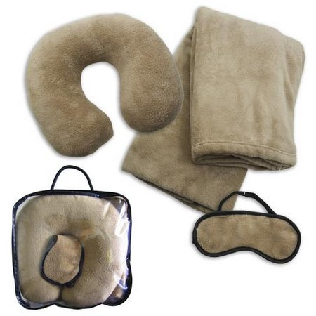Fleece Travel Set (Blanket, Neck Pillow, Eye Mask)
