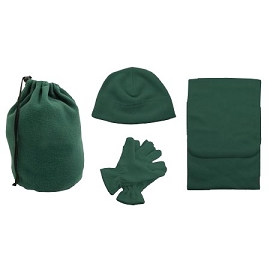 Fleece Winter Set (Scarf, Beanie, Gloves, and Carry Bag)