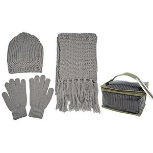 Knit Winter Set (Beanie, Gloves, Scarf, and Gift Bag)